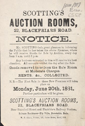 Advert for Scotting's Auction Room